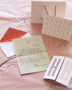 A calligraphed monogram from your wedding ceremony or a clip-art letter can be scanned into your computer and used as either a graceful embellishment or a bold graphic detail. A single repeated letter or a pair of initials makes a splashy customized cover for a note card.