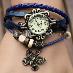 Mulheres Relógio de Moda Quartz PU Banda Borboleta / Boêmio / pulseira Preta / Azul / Laranja / Marrom / Verde - USD $4.99