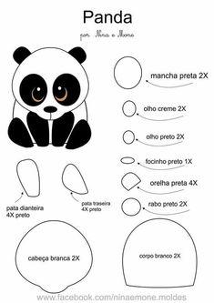 ФЕТРоголик (корейский фетр и аксессуары) | VK Felt Animal Patterns, Quiet Book Patterns, Stuffed Animal Patterns, Felt Diy, Felt Crafts, Panda Craft, Animal Templates, Diy Y Manualidades, Panda Party