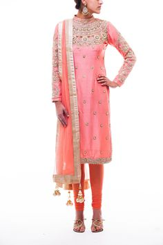 Long salmon pink dupion silk kameez with matching stretchy pajami. High collar  floral embroidered bodice with pearl highlighting. Net dupatta