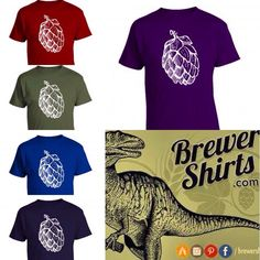 """BrewerShirts signature hops tee is now available in 10 different colors, giving a whole new meaning to the phrase """"taste the rainbow""""  #homebrew #craftbeer #beershirt"""
