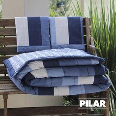 Edredón diseño búlgaro azul con rayas anchas!