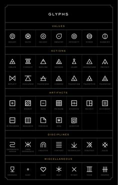 Manifest Glyphs - Definitely would use one of Values or Actions to integrate into one of my future tattoos.