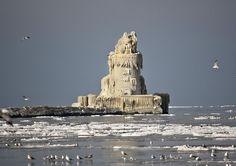 Frozen Lighthouse on Lake Erie.