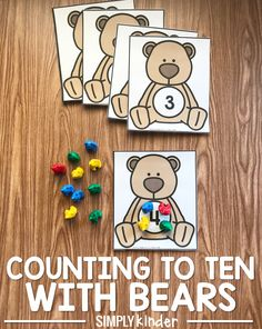 To Ten With Bears Counting To Ten With Bears! Simple preschool and kindergarten counting activity!Counting To Ten With Bears! Simple preschool and kindergarten counting activity! Bear Activities Preschool, Bear Theme Preschool, Numbers Preschool, Preschool Activities, Brown Bear Activities, Teaching Numbers, Counting Bears, In Kindergarten, Creations