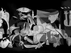 Guernica in 3D ~ It is very difficult to find a picture that does justice to the painting, given its massive size, so a 3D version works well! Beautifully done and the music is so evocative.