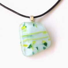 CIJ Green and Yellow Fused Glass Pendant Necklace by GreenhouseGlassworks, $20.00