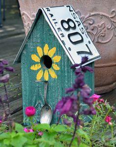 Rustic Birdhouse Spoon Birdhouse License Plate by ruraloriginals