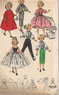 "Toni 15/"" Sweet Sue Vtg 50s Doll Clothes Pattern Dress Parasol ~ 14/"" Mary Hoyer"