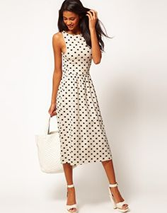 ASOS – polka dot dress. wear now as is, add a chunky knit sweater and booties for fall