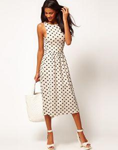 ASOS Midi Dress In Spot Print in cream and black.