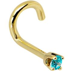 Solid 14KT Yellow Gold 2mm Mint Green Cubic Zirconia Left Nostril Screw - 18 Gauge Body Candy. $19.99