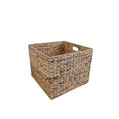 Natural Water Hyacinth Square Storage Basket Small Katie…
