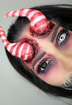 Special effects candy cane Christmas makeup ideas glam gore fun polymorph plastic contacts