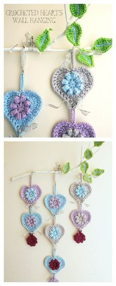 Crochet Hearts Wall Hanging Tutorial