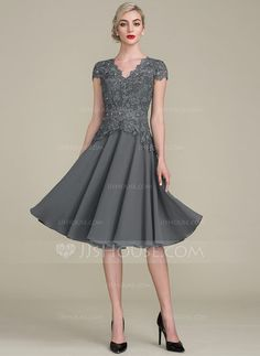 A-Line/Princess V-neck Knee-Length Beading Zipper Up Sleeves Short Sleeves Yes Steel Grey General Plus Height:5.7ft Bust:33in Waist:24in Hips:34in US 2 / UK 6 / EU 32 Mother of the Bride Dress