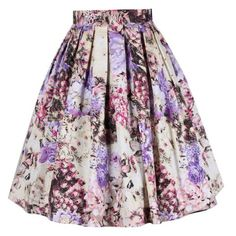 Vintage Full Rose And Peacock Feather Print High Waist Knee-Length Women's Full Skirt