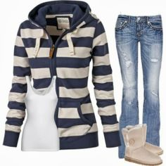 Casual Fall Outfit With Stripes Hoodie and Bell Bottom Jeans
