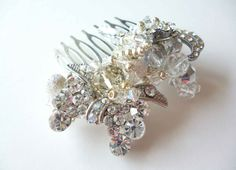 Amanda Caroline Couture - Combs & Hair Pins- having two clusters on a hairband with birdscage bandaux