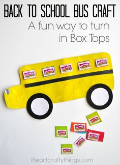 This cute Back to School Bus Craft with Box Tops windows couples as a fun way to turn in Box Tops at school.