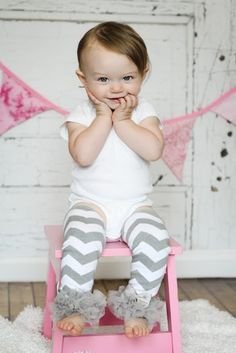 Gray Chevron Leg Warmers Baby Outfit  leggings pants with tulle ruffles on Etsy, $10.95