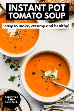 This easy to make and healthy recipe for tomato soup is done in the Instant Pot so quickly and easily. It's creamy and tastes delicious on its own or paired with a grilled cheese sandwich- yum. Keep it low carb and top it off with some cauliflower rice if you'd like or have it as a side dish. #lowcarb #tomatosoup #instantpot #dairyfree #healthyrecipes Tomato Soup Recipes, Healthy Soup Recipes, Chili Recipes, Vegetarian Recipes, Healthy Food, Best Paleo Recipes, Whole Food Recipes, Dinner Recipes, Delicious Recipes