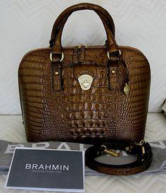 Big Stunning Copper Brown Croc Leather Brahmin Handbag