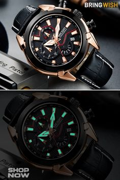 Military Fashion Chronograph Black Leather Watch