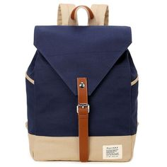 Canvas Buckle Strap Color Block Backpack #>=#>=#>=#>=#> Click on the pin to check out discount price, color, size, shipping, etc. Save and like it!