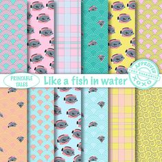 Fish and Water Digital Paper Pack 'Like a fish in water' with Japanese pattern and Plaid pattern. For personal & unlimited commercial use! door PrintableTales op Etsy https://www.etsy.com/nl/listing/180685552/fish-and-water-digital-paper-pack-like-a