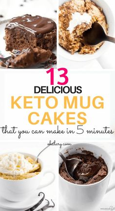 My Favorite Keto Mug Cakes. 13 Delicious Keto Mug Cake Recipes To Try Right Now. These low carb easy to make mug cakes are made with almost flour and chocolate and are microwaveable. Most of these ketogenic mug cakes have 3 ingredients or less. These Choc