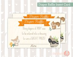 Diaper Raffle Insert Card | Sweet Woodland Baby Boy or Girl Woodland Animals | Forest Baby Shower Invitation Add On's