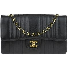 Pre Owned Chanel Vintage Black Caviar Vertical Quilted Single Flap Bag 3 125