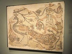 Fragment of a Floor Mosaic, Grape Harvester and Peacock, circa 400s AD, Northern Syria.