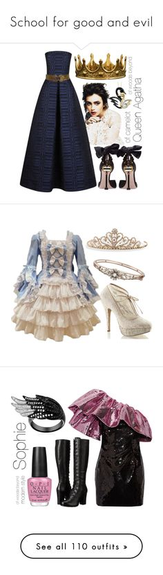 """""""School for good and evil"""" by hyperducky ❤ liked on Polyvore featuring sophie, agatha, SGE, Schoolforgoodandevil, Martin Grant, Miu Miu, Seletti, Target, Pinup Couture and BillyTheTree"""