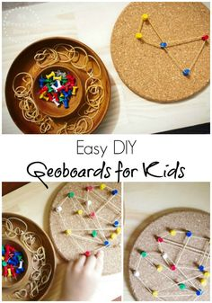 Atelier autonome - Motricité fine - An Easy DIY Geoboard for Kids: Just using an old cork pot holder, the kids are able to make their own pin designs with this simple geoboard {from An Everyday Story} Montessori Activities, Motor Activities, Educational Activities, Activities For Kids, Montessori Trays, Projects For Kids, Diy For Kids, Crafts For Kids, Finger Gym