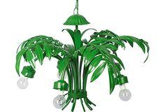 5-Arm Green Leaf Tole Chandelier. Vintage painted palm frond chandelier.