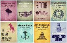 Re-Imagined Book Cover Series - Literary Art - Set of 8 4x6, 5x7, 8x10  - Emma, Moby Dick, Madame Bovary - Set D by TheSilverSpider on Etsy