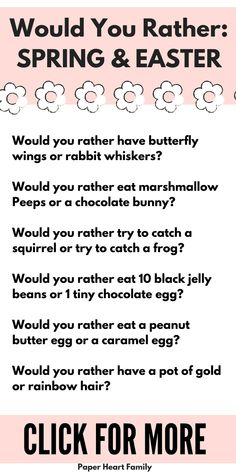 Spring and Easter would you rather questions for kids. This is the perfect, quick Spring activity or Easter activity for kids. Click to get the free printable or to complete the polls to see where your opinions rank! Silly Questions To Ask, Poll Questions, Would You Rather Questions, This Or That Questions, Funny Would You Rather, Family Night, Family Guy, Question Of The Day, Jokes For Kids