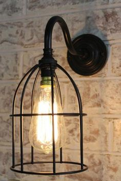 Cage Gooseneck Wall Light with black cage shade