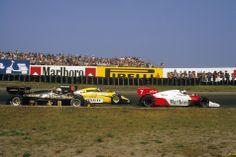 Zandvoort 1984: Alain Prost (McLaren-TAG Porsche MP4/2) leads Derek Warwick (Renault RE50) and Elio de Angelis (Lotus-Renault 95T).