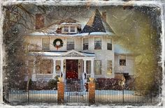 victorian homes facebook | Download - Victorian Christmas House — Stock Image #11345514
