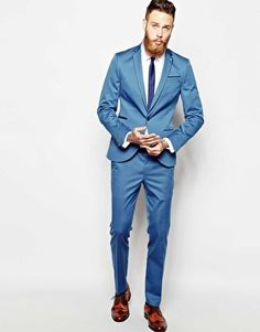 Noose & Monkey Light Blue Skinny Suit With Piping