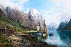 Harbor In The Sognefjord Artwork By Anders Monsen Askevold Oil Painting & Art Prints On Canvas For Sale Fantasy Landscape, Landscape Photos, Landscape Paintings, Norway Nature, Dna Results, Building Painting, Sailboat Painting, Mountain Wallpaper, Puzzle Art