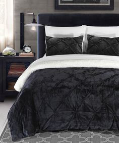 Another great find on #zulily! Black Eugenia Plush Comforter Set by Chic Home Design #zulilyfinds