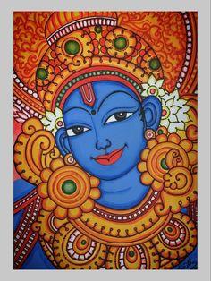 Kerala Mural Painting, Krishna Painting, Madhubani Painting, Oil Painting Abstract, Skyline Painting, Dance Paintings, Indian Art Paintings, Canvas Art Projects, Indian Folk Art