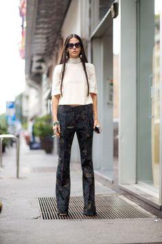 Gilda Ambrosio wearing printed pants at Milan Fashion Week