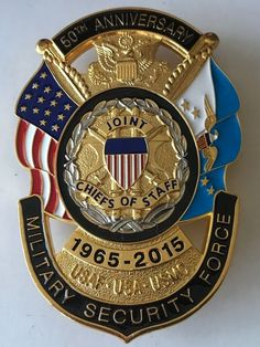 Joint Chiefs of Staff Military Security Force Anniversary Military Insignia, Military Police, Security Badge, Fire Badge, Law Enforcement Badges, Weapon Storage, Police Badges, New York Police, Concept Photography