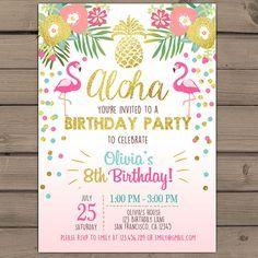 Flamingo party invitation Tropical Birthday by Anietillustration