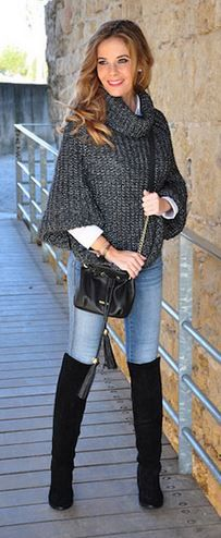 Love this look! Love the Sweater! Love the Boots! Black Over the Knee Boots
